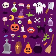 Halloween symbols vector collection Stock Illustration