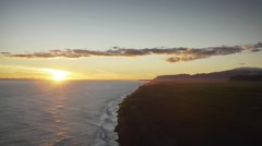 View of the Sun Setting from Dyrholaey Lighthouse Stock Footage