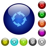 Color rotate left glass buttons Stock Illustration