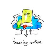 Sketch watercolor icon of teaching online, distance education an Stock Illustration