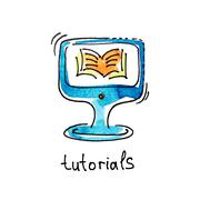 Sketch watercolor icon of tutorials, distance education and onli Stock Illustration