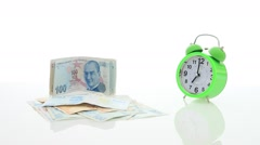 Turkish money and alarm clock Stock Footage