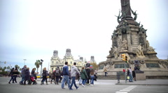 Many people crossing street, heading for Aduana building, Barcelona sights Stock Footage