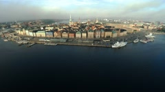 Aerial view. Stockholm. Old houses, buildings and streets. City center. Sweden. Stock Footage