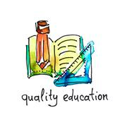 Sketch watercolor icon of quality education, distance education Stock Illustration