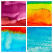Set of abstract hand drawn watercolor background, aquarelle text Stock Illustration