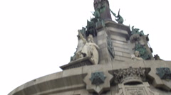 Famous Christopher Columbus Monument in Barcelona, sightseeing tour to Spain Stock Footage