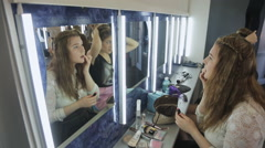 Up view of young female making up in model school Stock Footage