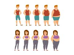 Fat cartoon people different stages vector illustration Stock Illustration