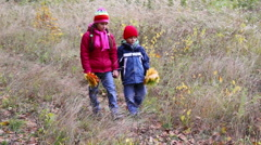 Two kids walking on autumn forest with yellow leaves Stock Footage