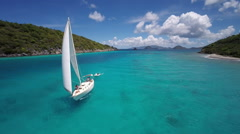 Aerial video of group of people sailing and relaxing, St John Stock Footage