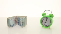 Turkish lira and alarm clock Stock Footage