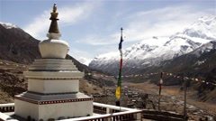 Panoramic view from buddhist stupa on Himalayas Stock Footage