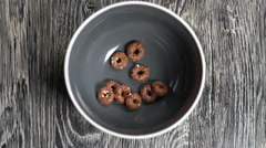 Chocolate crispy rings with sesame seeds. Stock Footage