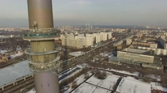 Cityscape with TV tower Ostankinskaya and telecentre on street Stock Footage