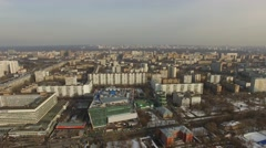Panorama of megalopolis at spring sunny day. Aerial view Stock Footage