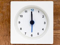 Series of the sequence of time on the simple white analog clock , 1/48 Stock Photos