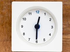 Series of the sequence of time on the simple white analog clock , 3/48 Stock Photos