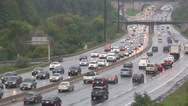 Heavy traffic in the rain on Don Valley parkway Stock Footage