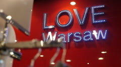 Love Warsaw sign in wear store Stock Footage