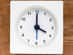 Series of the sequence of time on the simple white analog clock , 17/48 Stock Photos