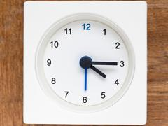 Series of the sequence of time on the simple white analog clock , 18/48 Stock Photos
