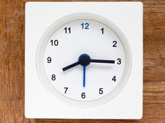 Series of the sequence of time on the simple white analog clock , 34/48 Stock Photos