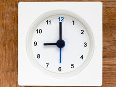 Series of the sequence of time on the simple white analog clock , 37/48 Stock Photos