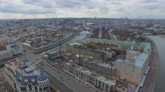 City panorama with quay traffic and Kremlin complex, Christ Savior Cathedral Stock Footage