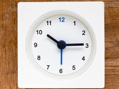 Series of the sequence of time on the simple white analog clock , 42/48 Stock Photos