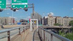 George Washington Bridge pedestrian exit ramp Stock Footage