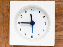 Series of the sequence of time on the simple white analog clock , 48/48 Stock Photos