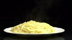 A Plate of Hot Spagetti Stock Footage