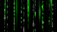 Matrix Data Fall Binary Effect - Green & White Stock Footage