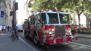 A New York Fire Department fire engine with lights flashing. Stock Footage