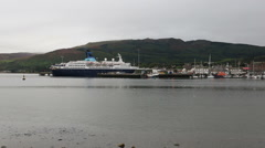 Cruise ship Saga Pearl 2 docked in Campbeltown, Scotland Stock Footage