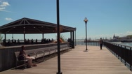 Waterfront scene at J. Owen Grundy Park Jersey City Stock Footage