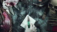 4k Horror and Bloody Composition of an Injection with Blood Stock Footage