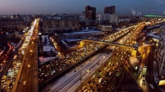 Megapolis panorama with transport traffic on flyover and speedway Stock Footage