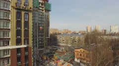 Construction site of residential complex at spring sunny day Stock Footage