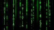 Matrix Data Fall Binary Effect - Green Stock Footage