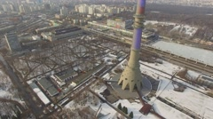 TV tower Ostankinskaya and telecentre on street with traffic Stock Footage