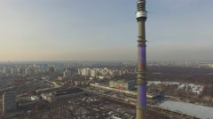 TV tower Ostankinskaya against townscape at sunny day Stock Footage