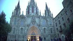 Gothic facade of Holy Cross and Saint Eulalia Cathedral in Barcelona, Spain Stock Footage