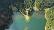 Aerial shot of forest and lake Stock Footage