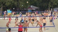 People playing beach volleyball, slow motion 240 fps Stock Footage