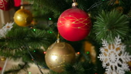 Dolly shot of beautiful decorated Christmas tree at living room Stock Footage