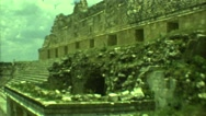 1973: ancient stone ruins with windows doors lawn and tourists MEXICO Stock Footage