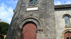 Church in Puerto de la Cruz, Tenerife island, Spain Stock Footage