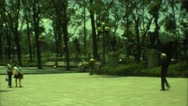 1973: urban park alongside highway features water fountain and promenade MEXICO Stock Footage